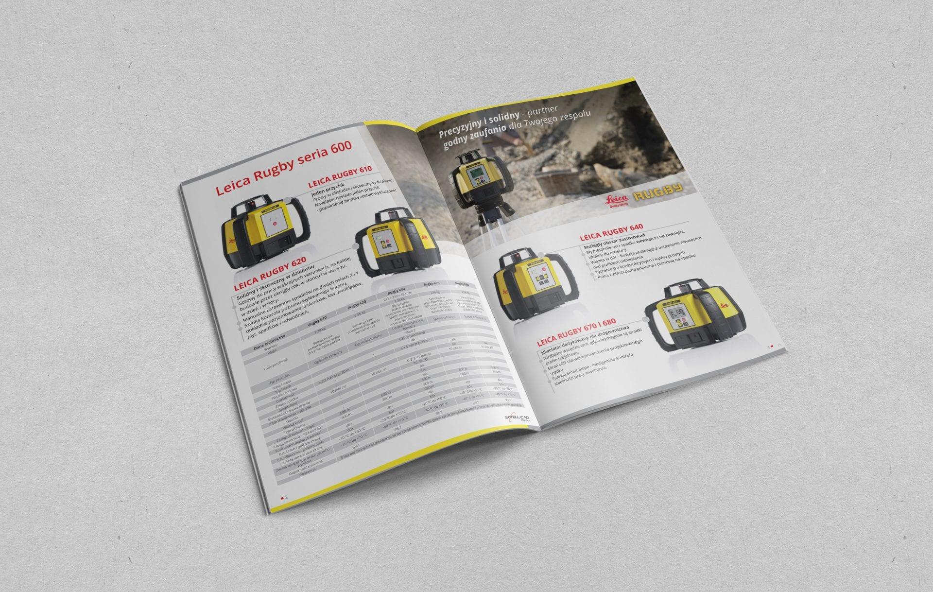 Projekt i skład katalogu produktowego dla marki z branży budowlanej i geodezyjnej.