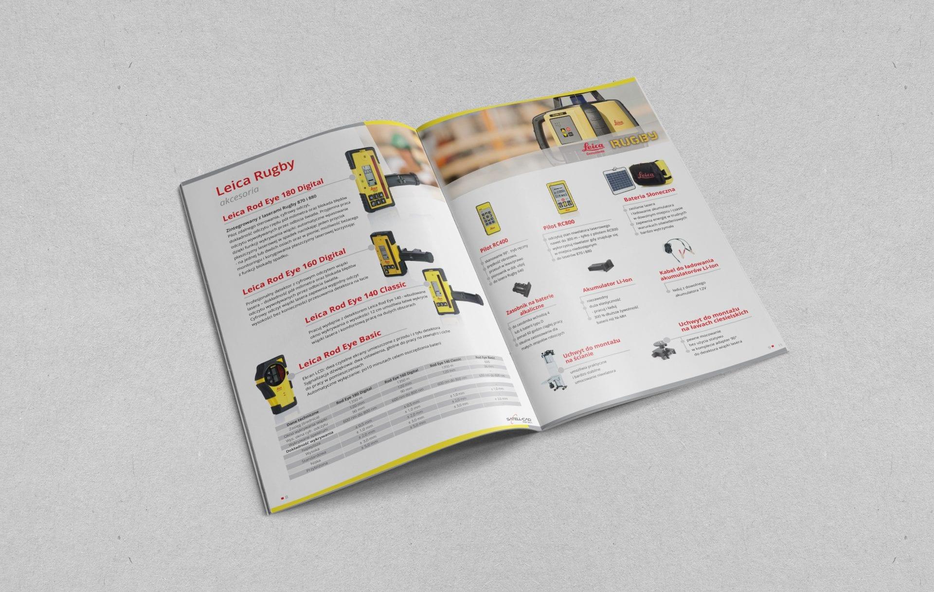 Projekt i skład katalogu dla marki z branży budowlanej i geodezyjnej.