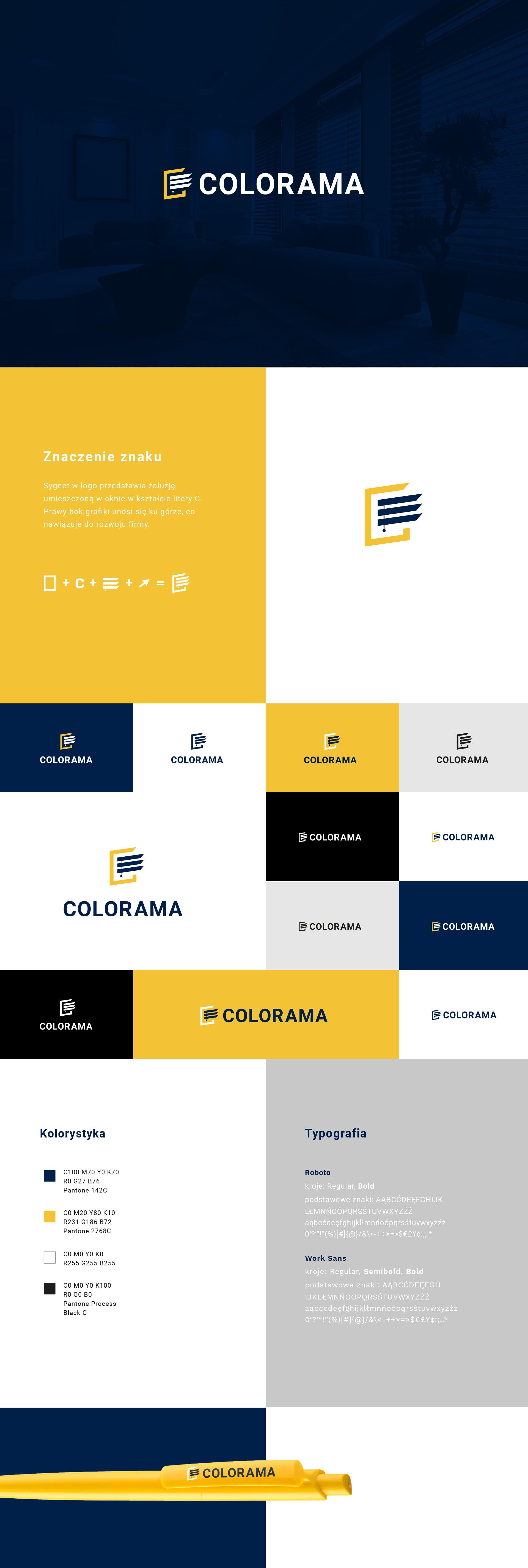 Logo marki Colorama w różnych konfiguracjach